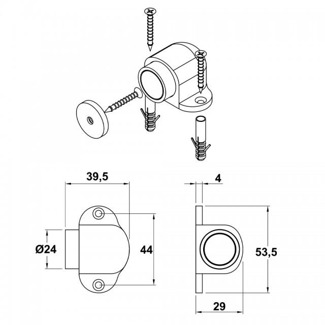 MAT NICKEL MAGNETIC DOOR RETAINER FLOOR SHELL
